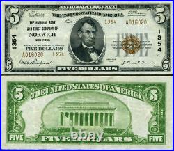 Norwich NY-New York $5 1929 T-2 National Bank Note Ch #1354 NB & TC VF+