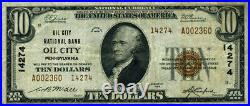Oil City PA-Pennsylvania $10 1929 T-2 National Bank Note Ch#14274 Oil City NB VF