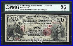 Pa 1875 $20 Gettysburg, Pennsylvania Pmg Vf25 Only Known! Very Rare