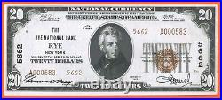 RARE Rye National Bank, New York, Fr-1802 Ty-2, Ch Unc 64 $20 1929 currency NY