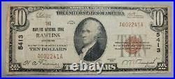 RAWLINS, WYOMING 1929 NATIONAL NOTE. CHARTER 5413. Banknote Bank Currency WY WYO