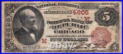 SCARCE 2nd Charter 1882 $5 CHICAGO, IL Brownback National Note! FREE SHIP! 859