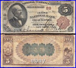 SCARCE 2nd Charter 1882 $5 NEW YORK, NY Brownback National Note! D666183D