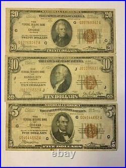 Set Of 3 1929 National Currency Brown Seal Notes $5 $10 $20 Make Offer