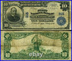 St. Clairsville OH-Ohio $10 1902 PB National Bank Note Ch #315 FNB Fine