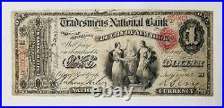 WPC 1865 $1 Large National Charter #905 Tradesmans National Bank Note